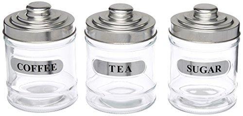 Kole OF983 Labeled Glass Coffee and Sugar Storage Jar Set, Regular by Kole