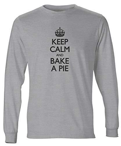 Light Pecan Pie - shirtloco Men's Keep Calm and Bake A Pie Long Sleeve T-Shirt, Light Steel Small