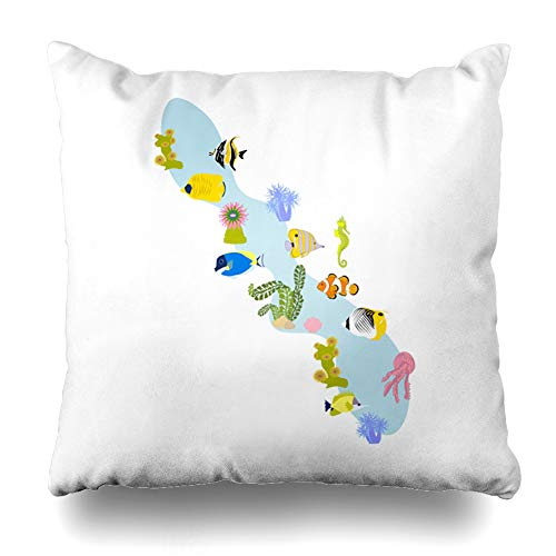Ahawoso Throw Pillow Cover Square 16x16 Inches Clown Aquarium Coral Reef On White Angelfish Butterfly Exotic Fish Ocean Cushion Case Home Decor Pillowcase