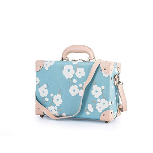 COTRUNKAGE Travel Luggage Trunk Vintage Women Suitcase with TSA Lock (12″, Blue Floral) Review