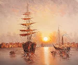 Perfect effect Canvas ,the Imitations Art DecorativePrints on Canvas of oil painting 'Sunset Seascape with Sailing Ships', 10x12 inch / 25x30 cm is best for Garage artwork and Home decoration and Gifts