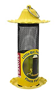 Stokes Select Little-Bit Feeders Finch Bird Feeder with Metal Roof, Yellow, .6 lb Seed Capacity