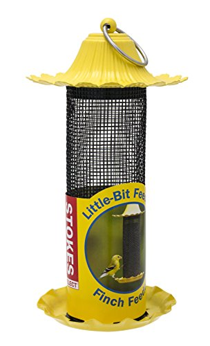 Stokes Select Little-Bit Feeders Finch Bird Feeder with Metal Roof, Yellow, .6 lb Seed Capacity - Yellow Nyjer Feeder