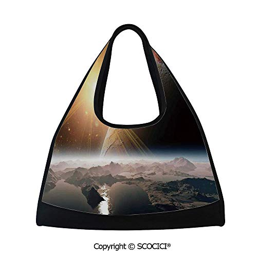 Short distance travel bag,Moons and the Universe View from the Earths Surface Galaxy Theme Art Print Decorative,Sports and Fitness Essentials(18.5x6.7x20 in) (Distance From Earth To Moon In Inches)