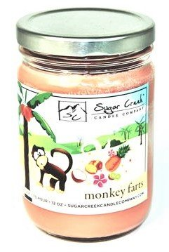 - Sugar Creek Candles | Monkey Farts (Tropical Fruit Medley) | 100% Natural Soy Wax, Non-Toxic | Made in USA | 75-Hours Burn Time (12 oz. Jar)