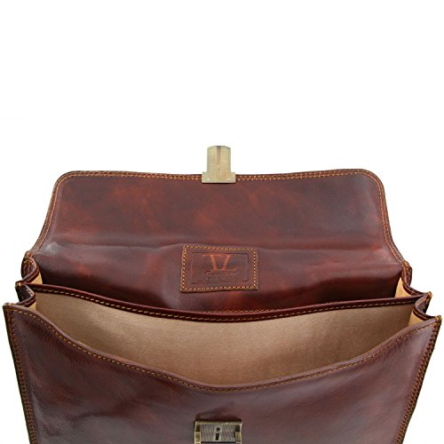 Tuscany compartments Leather briefcase Brown Parma Leather Dark Black 2 1CrwZ1Xq