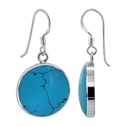 Gem Avenue 925 Sterling Silver Round Simulated Turquoise French Hook Drop (Turquoise French Hook Earrings)
