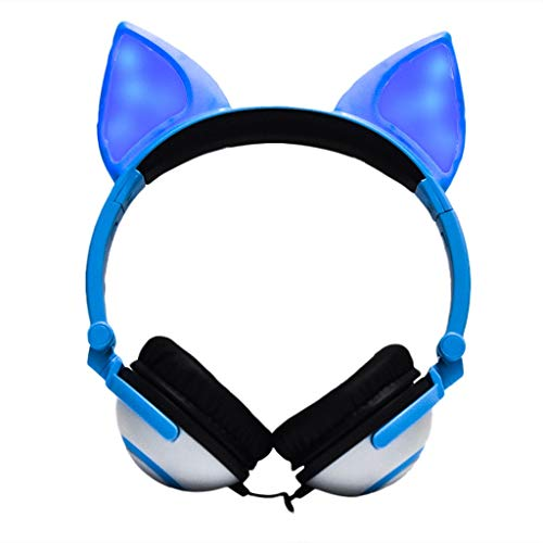 Bosji Gaming Headset Foldable Flashing Glowing Fox Ear Headphone Gaming Headset Earphone with LED Light for Mobile Phone, Tablet PC, Notebook (Blue)