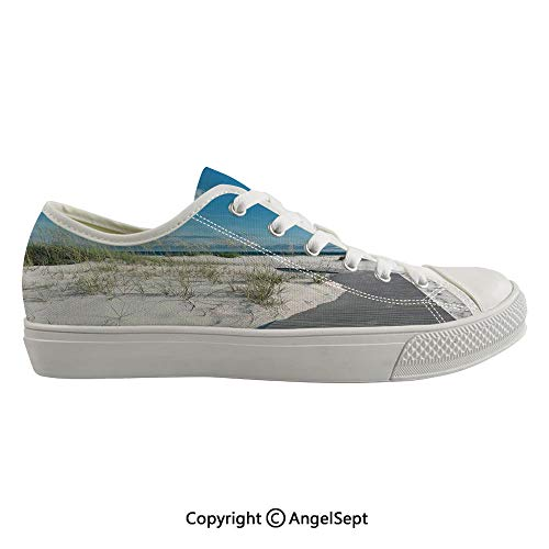 Durable Anti-Slip Sole Washable Canvas Shoes 15.35inch Rustic Beach Pathway Heads to The Water in Florida Santa Rosa Island Summer Travel,Cream Blue Flexible and Soft Nice Gift