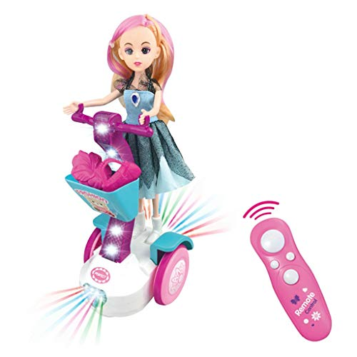 (AMOFINY Toys Perfect House Electric Princess Balance Car Remote Control Electric Balance Car Doll Set Gift Box Children Lighted Music Play Toys)