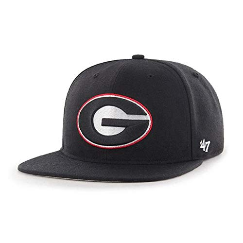 '47 NCAA Georgia Bulldogs Mens Pro Wool Fitted Hat Pro Wool Fitted Hat, Black, 7 1/4