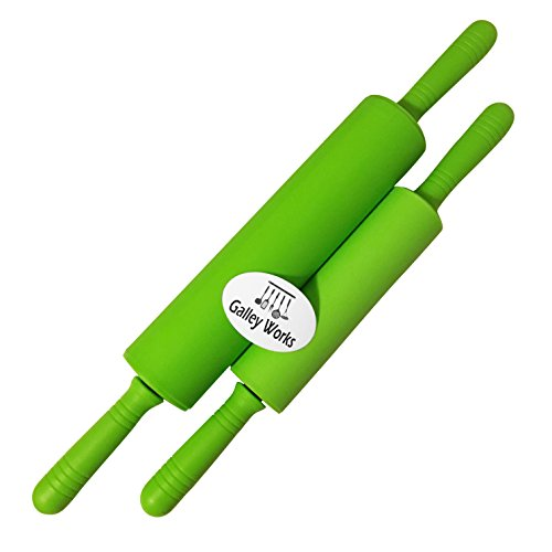 Two Green Rolling Pins with Silicone Surfaces - Set of Matching Large and Small Pins, Easy Clean - Great for Learning, Teaching or Daily Use - 11 inch and 7.5 inch lengths - By GalleyWorks (Pergamino Paper)