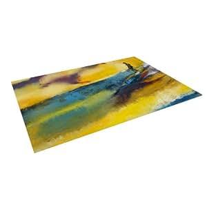 "Kess InHouse Josh Serafin ""Sano"" Yellow Surf Outdoor Floor Mat/Rug, 8 by 8-Feet"