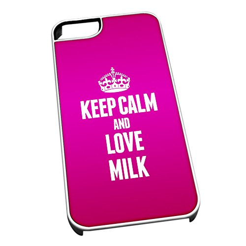 Bianco cover per iPhone 5/5S 1277Pink Keep Calm and Love latte