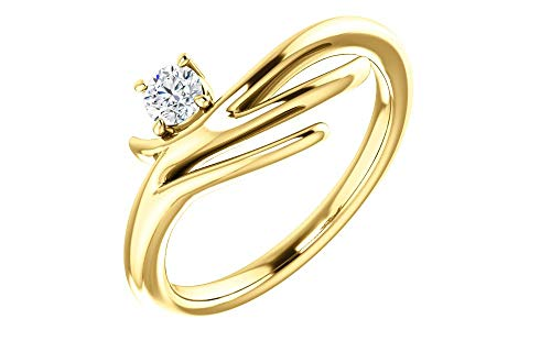 (Jewels By Lux 14K Yellow Gold 1/6 CTW Diamond Solitaire Freeform Ring)