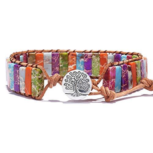 Bonnie Chakra Bead Bracelet Handmade Imperial Jasper Tube Beaded Leather Wrap Bracelets Healing Bangle for Women Adjustable (Chakra2) ()