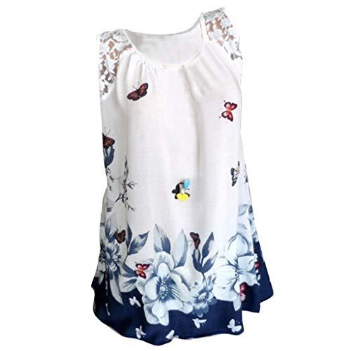 Palalibin Women's Summer Sleeveless Swing Tunic Casual Floral Flare Tank Tops (XXL, White)