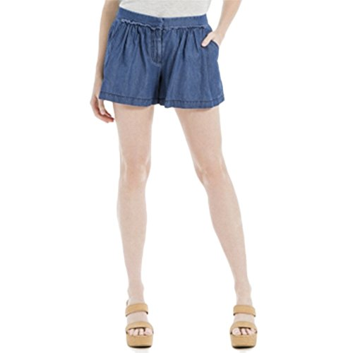 Max Studio Womens Tencel Blend Gathered Casual Shorts Blue 0