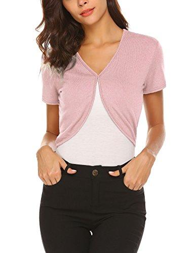 HOTOUCH Short Sleeve Bolero Shrug for Women Pink XL