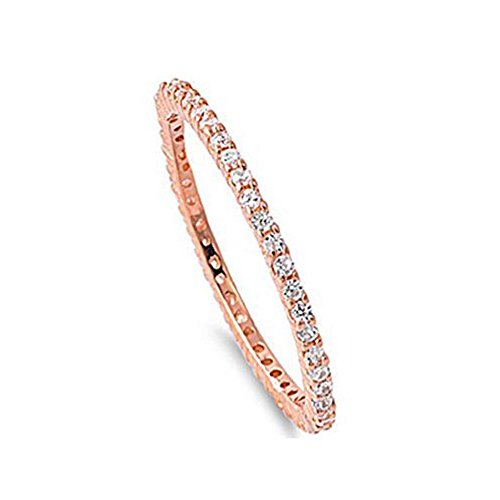 Band Eternity Bezel Half (Crazy2Shop Sterling Silver Rose Gold Plated Classy Stackable Ring with Clear Simulated Crystals on Half-Bezel Setting with Rhodium Finish, Band Width 1.5MM)