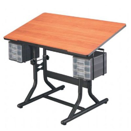 CraftMaster Deluxe Drafting Table Cherry Woodgrain Top/Black Base by Alvin