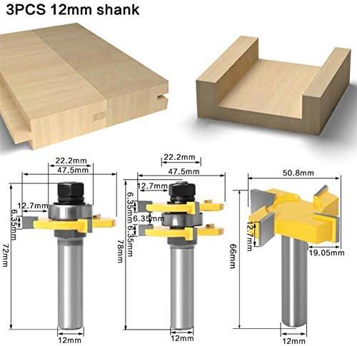 Shank Router Bit 3pcs 12MM 1/2inch Shank Tongue & Groove Joint Assemble Router Bits, 3/4