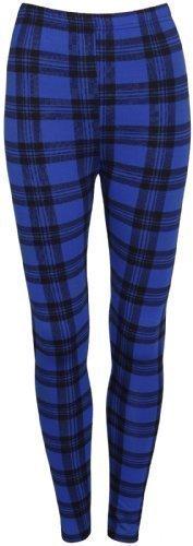 Damen Stretchhose mit Schottenkaro bedruckt und Vollgummibund ausgestattete Hose Leggings - Königsblau, EU 36-38