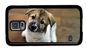 Hipster Samsung Galaxy S5 Case case mate covers Cute Look Puppy PC Black for Samsung S5