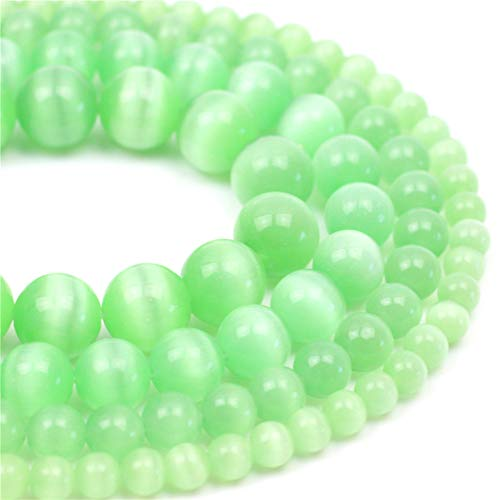 Oameusa Natural Round Smooth 8mm Light Green Cat's Eye Agate Beads Gemstone Loose Beads Agate Beads for Jewelry Making 15