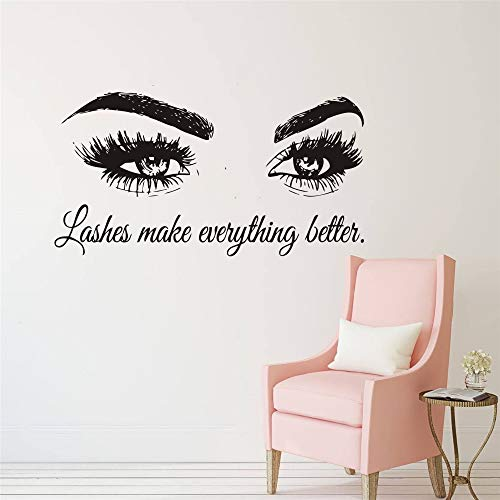 Wall Decal Beauty Salon Quote Sticker Lashes Make everything Better Beautiful Eyes Eyelashes Lashes Extensions Brows Wall Sticker Make Up Wall Window Mural AY1075 (BLACK, 57X103CM) by YOYOYU ART HOME DECOR (Image #2)