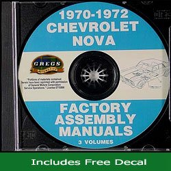 1970-1972 Chevrolet Nova Factory Assembly Manual CD (with Decal)