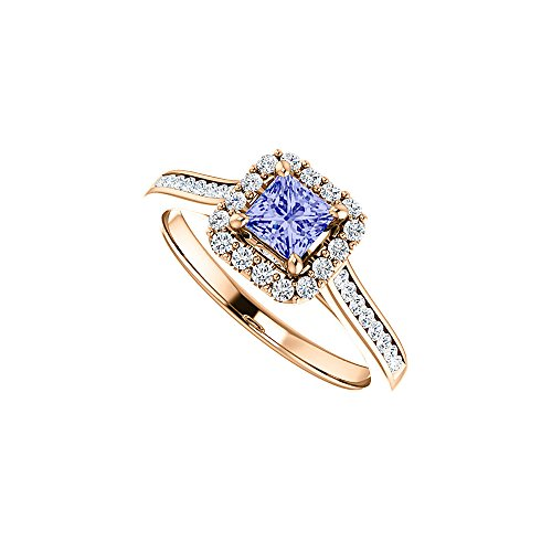 (Channel Set CZ Accented Tanzanite Halo Ring Rose Gold)