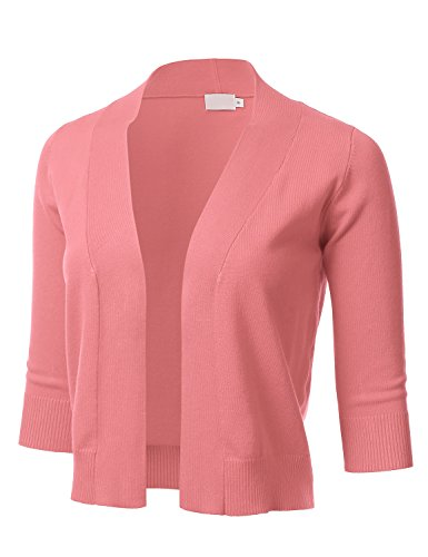 FLORIA Womens Classic 3/4 Sleeve Open Front Cropped Cardigan PEACH (Peaches Cardigan Style Jacket)