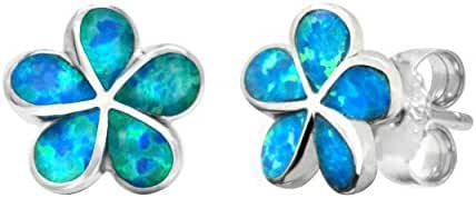 Sterling Silver Plumeria Flower Stud Earrings with Simulated Blue Opal