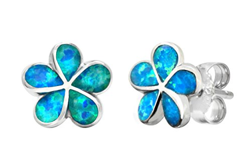 (Sterling Silver Plumeria Flower Stud Earrings with Simulated Blue Opal (9 Millimeters))