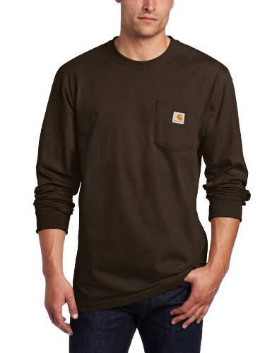 Carhartt Big And Tall Work Shirt - Carhartt Men's Workwear Pocket Long Sleeve T Shirt-Big/Tall, Dark Brown, 3X-Large