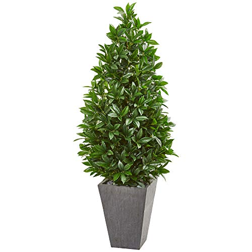 Nearly Natural 9369 57-in. Bay Leaf Cone Topiary Slate Planter UV Resistant (Indoor/Outdoor) Silk Trees Green