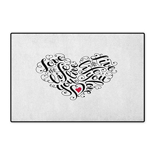 Vibe Deluxe Carpet - Love,Door Mat Outside,Inspiring Quotes in Heart Shape Positive Vibes Valentines Day Romance,Customize Door Mats for Home Mat,Dark Coral Black White,Size,16