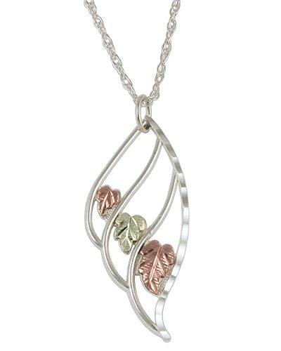 Wing of an Angel Black Hills Gold Pendant Necklace, Sterling Silver, 12k Green Gold, 12k Rose Gold, - Gold Angel Hills Black Pendant