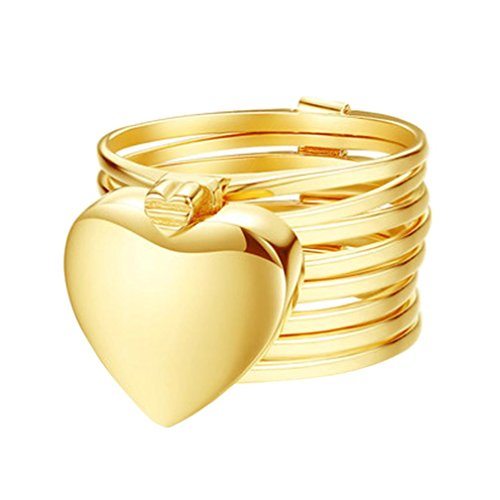 Sandistore Retractable Ring Bracelet Change Bracelet Love Heart Folding Magical Jewelry Heart Ring (Gold, 8)