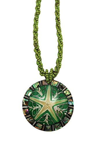 - Green Multi Strand Polished Starfish Stone Pendant Bead Fashion Necklace
