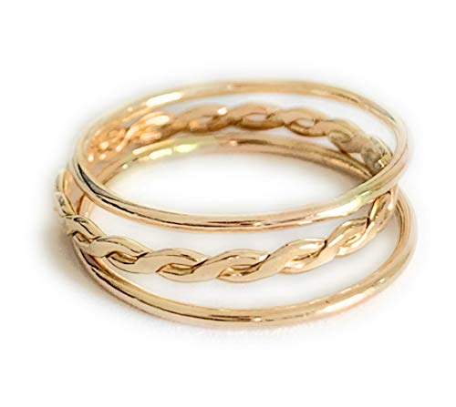 Toe Ring | 3 Stackable Rings (2) Skinny Band and (1) Braid in 14K Gold Fill | Fitted Finger Ring Stack | Perfect for Knuckle or Midi | Rings for Women, Girls, Or Men (3.5)