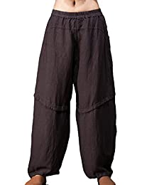 OUTLINE Women's Vintage Style Casual Long Linen Harem Pants