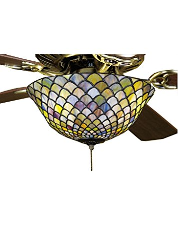 Meyda 12 Inch W Tiffany Fishscale Fan Light Fixture, Ceiling Fixture