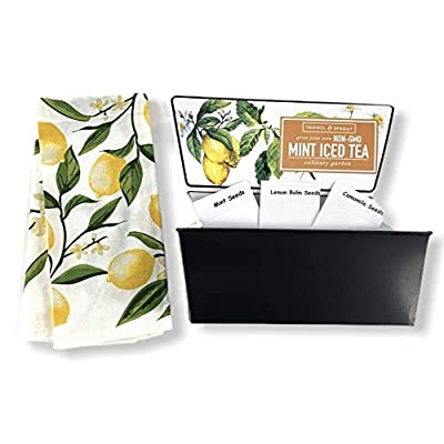Trowel & Sprout Mint Iced Tea Culinary Garden Grow Kit with 100% Cotton Yellow Lemon Towel Gift Set : Garden & Outdoor