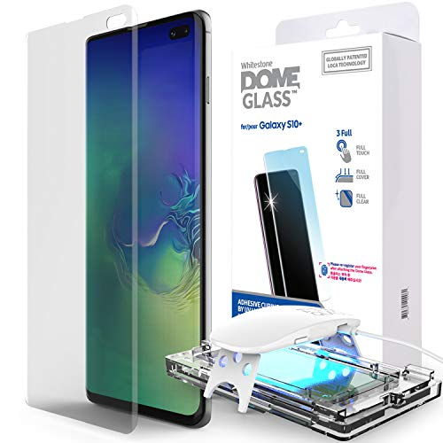 Galaxy S10 Plus Screen Protector, [Dome Glass] Full 3D Curved Edge Tempered Glass [Exclusive Solution for Ultrasonic Fingerprint] Easy Install Kit by Whitestone for Samsung Galaxy S10+ (2019) - 1 Pack ()