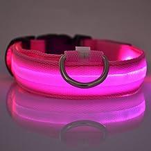 Befamous Adjustable LED Light ,Visible Flashing Glowing Luminous Night Safety Pet Dog Collar with Metal Hook