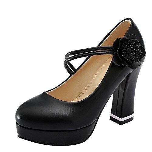 Mee Shoes Damen High Heels Blumen Klettverschluss Pumps Schwarz