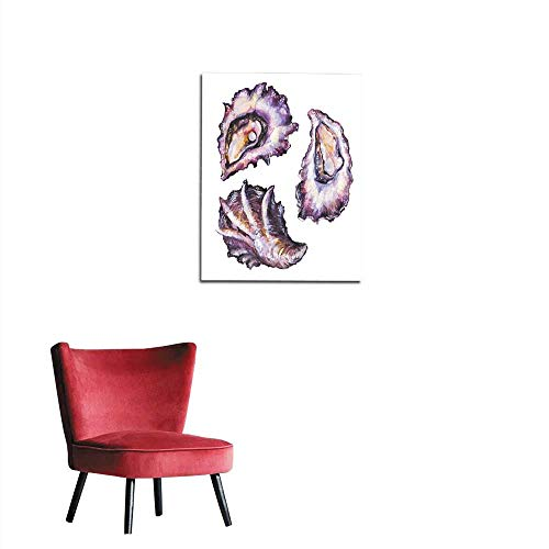 Unprecall Painting Post Watercolor Painted Oyster Set Isolated on White Background Mural 24