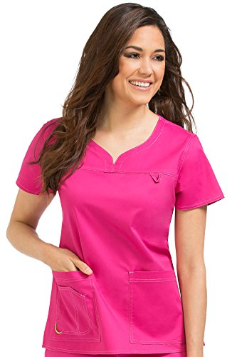 Med Couture Women's 'MC2' Sport Neckline Lexi Scrub Top, Pink-A-Licious, Large by Med Couture